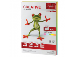 Бумага цветная CREATIVE color (Креатив) А4, 80 г/м2, 100 л., (5 цветов х 20 листов), микс медиум, БОpr-100r