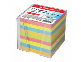 Блок для записей BRAUBERG в подставке прозрачной, куб 9*9*9 см, цветной, 122225