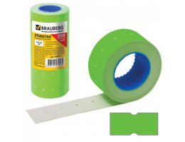 Этикет-лента 21*12мм прямоугольная, зеленая, КОМПЛЕКТ 5 рулонов по 600 шт., BRAUBERG, 123571