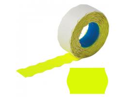 Этикет-лента 22*12мм волна, желтая, КОМПЛЕКТ 5 рулонов по 800 шт., BRAUBERG, 123573