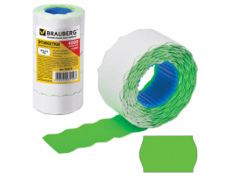 Этикет-лента 22х12 мм, волна, зеленая, комплект 5 рулонов по 800 шт., BRAUBERG, 123575