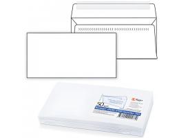 Конверт Е65, КОМПЛЕКТ 50шт, отрывная полоса STRIP,белый,Security,внутр.запечатка,110х220мм,121182.50