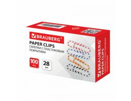 Скрепки BRAUBERG 28 мм с цветными полосками, 100 шт., в карт. коробке, 221534