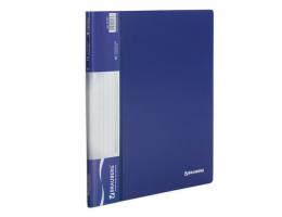 Папка 10 вкладышей BRAUBERG стандарт, синяя, 0,5 мм, 221591