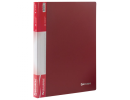 Папка  20 вклад. BRAUBERG Стандарт, красная, 0,6мм, 221594