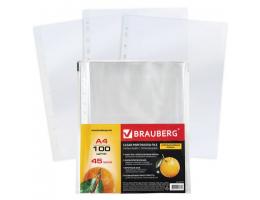 Папки-файлы перфорированные А4 BRAUBERG, КОМПЛЕКТ 100 шт., апельсиновая корка, 45 мкм, 221713