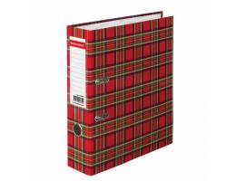 Папка-регистратор BRAUBERG ламинированная, 80 мм, шотландка, 222074