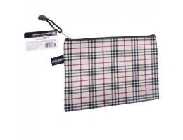 Папка-конверт на молнии МАЛОГО ФОРМАТА (238х180 мм), А5, ткань в клетку, BRAUBERG