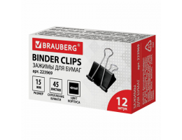 Зажимы для бумаг BRAUBERG, КОМПЛЕКТ 12 шт., 15 мм, на 45 листов, черные, картонная коробка, 223969