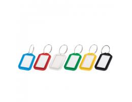 Брелоки для ключей КОМПЛЕКТ 12 ШТ, длина 50 мм, инфо-окно 35х20 мм, АССОРТИ, BRAUBERG, 231152