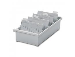 Картотека пластиковая ФОРМАТ А5 (210х148 мм) горизонтальная на 1300 карт, серая, HAN (Германия), НА955/0/11