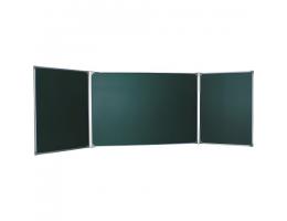 Доска для мела магнитная 3-х элементная, 100х170/340 см, 5 рабочих поверхностей, зеленая, BOARDSYS, ТЭ-340М