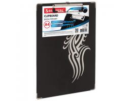 """Доска-планшет BRAUBERG """"Black Jack"""" (БРАУБЕРГ """"Блек Джек""""), с верхним прижимом, А4, 22,6х31,5 см, картон/ламинированная бумага"""