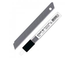 Лезвия для ножей  9 мм STAFF, КОМПЛЕКТ 10 шт., толщина лезвия 0,38 мм, в пластиковом пенале, 235465