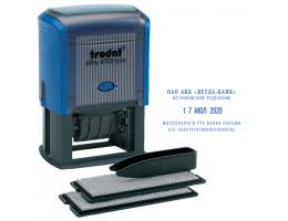 Датер самонаборный, 4 строки+дата, оттиск 50х30 мм, синий, TRODAT 4729, кассы в комплекте, 53334