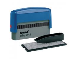 Штамп самонаборный 2-строчный, оттиск 70х10 мм, синий без рамки, TRODAT 4916DB, КАССЫ В КОМПЛЕКТЕ, 32912