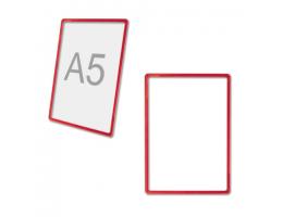 Рамка POS для рекламы и объявлений МАЛОГО ФОРМАТА (210х148,5 мм), А5, КРАСНАЯ, без защ.экрана,290260