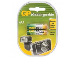 Батарейки аккумуляторные GP, AAA, Ni-Mh, 1000 mAh, КОМПЛЕКТ 2 шт., блистер, 100AAAHC-2DECRC2, 100AAAHC2DECRC2