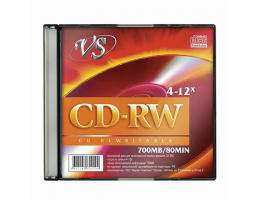 Диск CD-RW, VS, 700 Mb, 4-12 x Slim Case, 1 штука, VSCDRWSL01