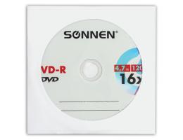 Диск DVD-R SONNEN, 4,7 Gb, 16x, бумажный конверт (1 штука), 512576