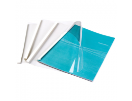 Обложки для термопереплета, А4, КОМПЛЕКТ 100 шт., 6 мм, 44-60 л., верх прозрачный ПВХ, низ картон, FELLOWES, FS-53154