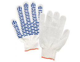 Перчатки хлопчатобумажные, комплект 5 пар, с ПВХ защитой от скольжения (волна), плотные