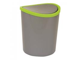 Ведро-контейнер 1,6 л для мусора, IDEA, настольный, качающаяся крышка, высота 17 см, диаметр 13 см, серое